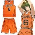 Аниме куроко Баскетбол Куроко нет Basuke Косплей Костюм Midorima Синтаро Shutoku Баскетбол Джерси № 6 Спортивной Одежды Костюм