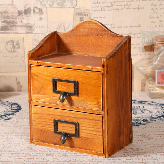 Retro Wooden Desktop Storage Cabinet