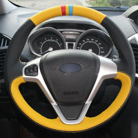 leather hand Top Leather Steering Wheel Hand-stitch on Wrap Cover For Ford Fiesta 08-13 Ecosport 13-16 (1)