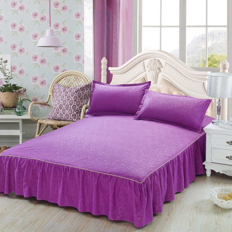Mordern Brief Solid Color Bed Skirt  Sanding Bedspread 150x200cm Bed Cover