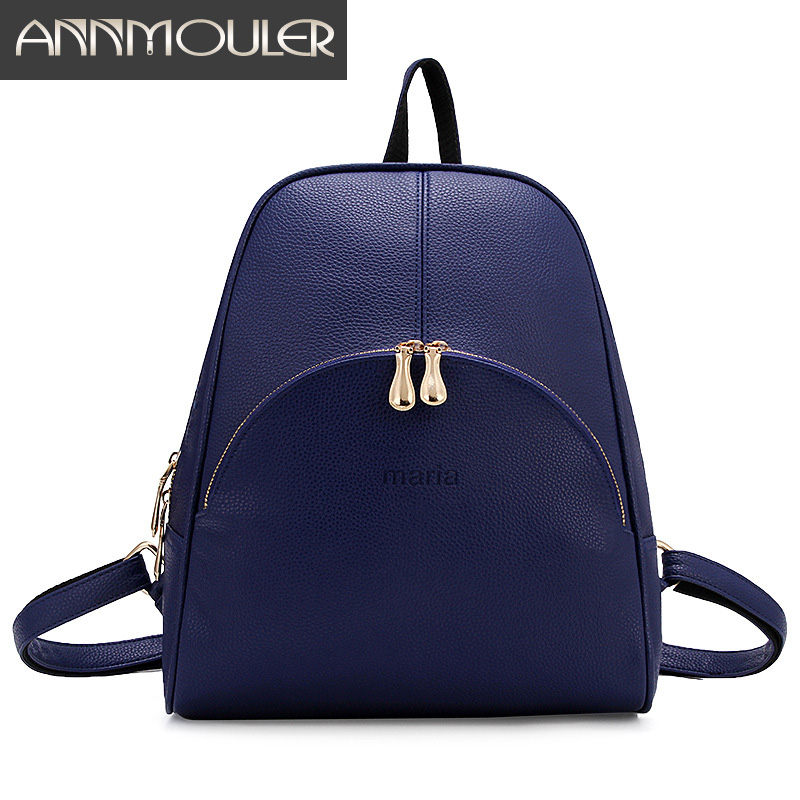 Annmouler Brand Backpacks for Teenagers Women Pu Leather Backpack Fashion 5 Color Shoulder Bag Large Capacity School Book Bag foru design 600d fashion backpack brand design school book bag polyester bag men computer packsack swiss outsports backpacks