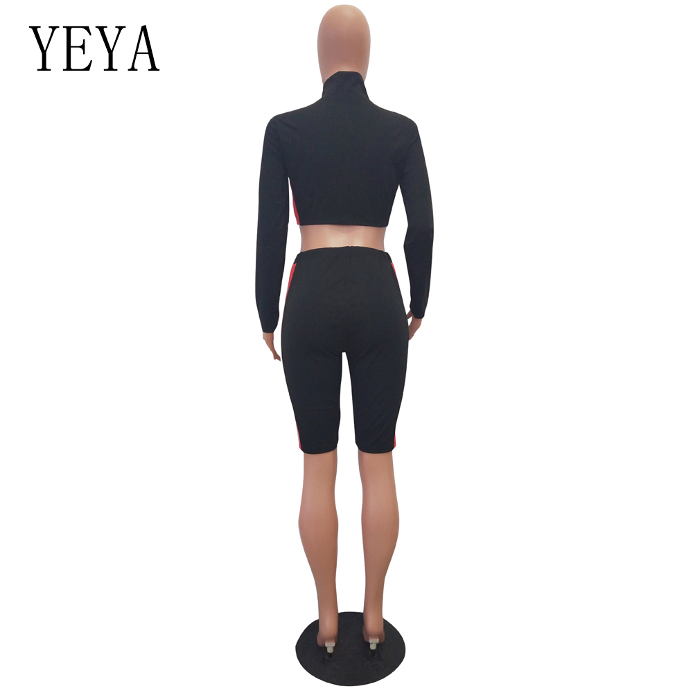 YEYA Two Piece Set Rompers Womens Jumpsuit Long Sleeve Zipper Color Block Bodycon Playsuit Casual Overalls Summer Sexy Bodysuits 5