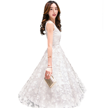 2019 Maxi Summer Flower Printed Women Dress New Long Organza day Dress Vestidos De Festa Satin Fashion style white women dresses