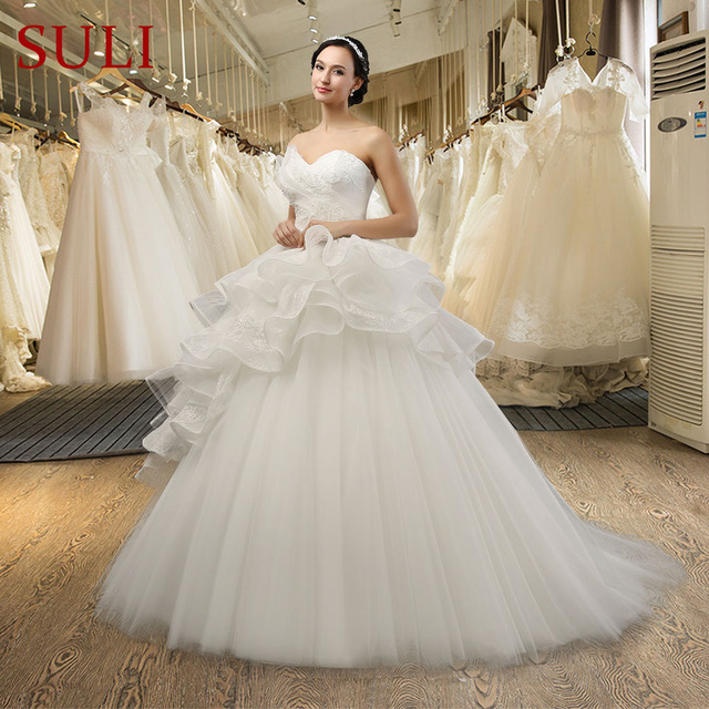 Sl 038 New Arrival Tulle Beaded Lace Liques Ball Gown Wedding Dress