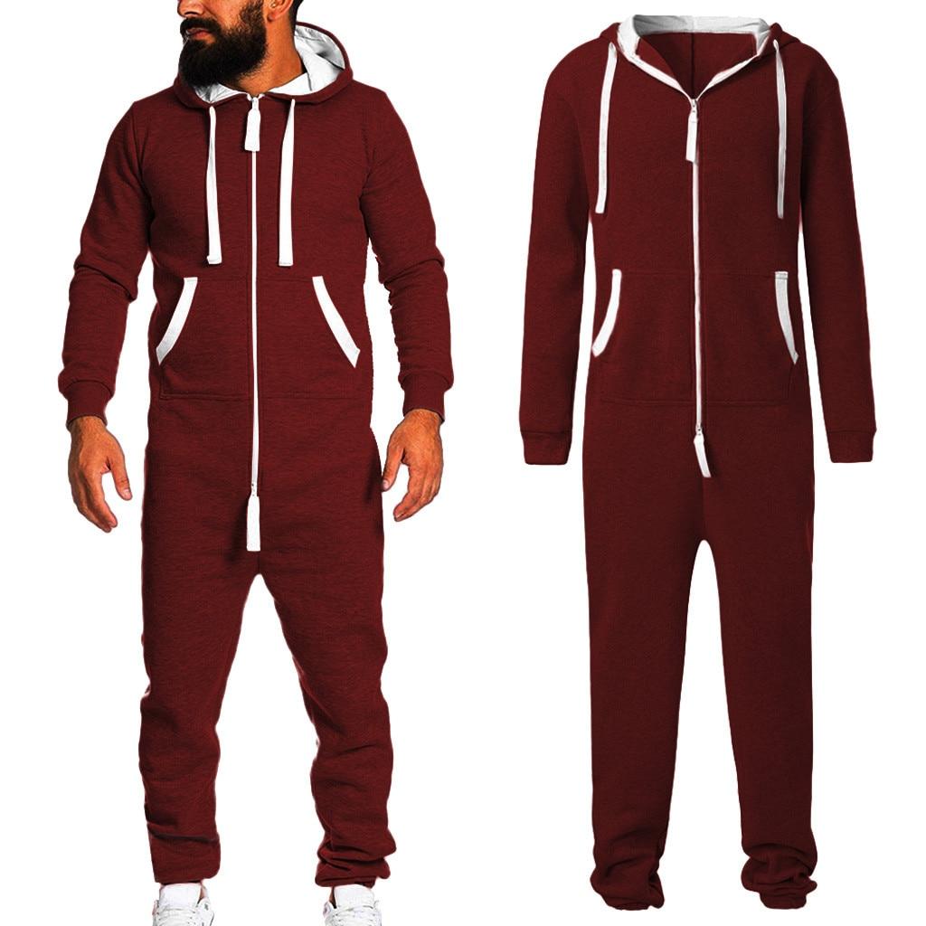 2019 Unisex Sporting Jumpsuit Men Women Long Sexy Playsuit  One-piece Garment Non Footed Pajama Set Hoodie Warm Fur Sweatshirt D