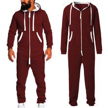 2019 Unisex Sporting Jumpsuit men women long sexy Playsuit One-piece garment Non Footed Pajama set Hoodie Warm Fur Sweatshirt D(China)