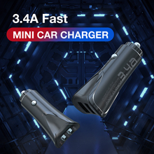 MOXOM Mini Car Charger For Mobile Phone Tablet GPS 3.4A Fast Car-Charger Dual USB Adapter in