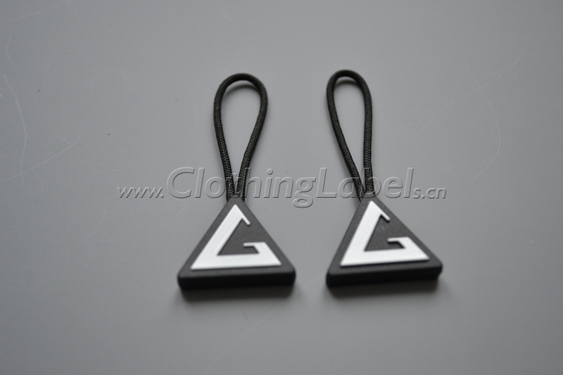 custom PVC zipper puller or zipper slider for clothing, bags, shoes, customized with your logo