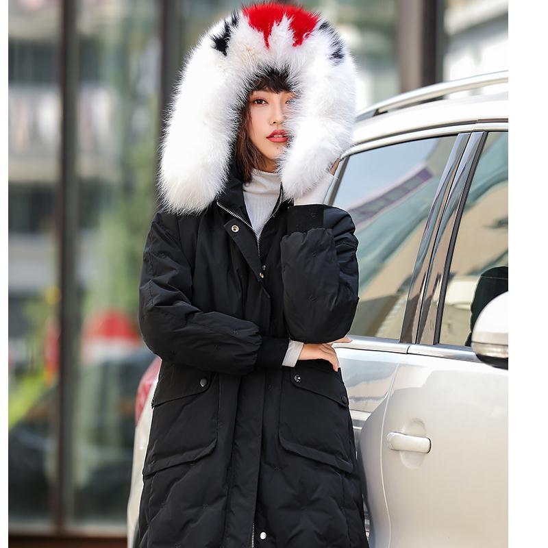 Beige Renard Vêtements La Col De Femmes Des Pour noir 2018 Veste En À Mode Longue Hiver Dans Fourrure Chaud Nouveau Duvet CxqgHzCw