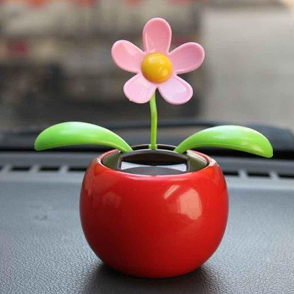 Zasilany energią słoneczną taniec samochodem z kwiatami ozdoby deski rozdzielczej Swinging zabawka samochód akcesoria dekoracja wnętrza samochodu prezenty dla przyjaciela