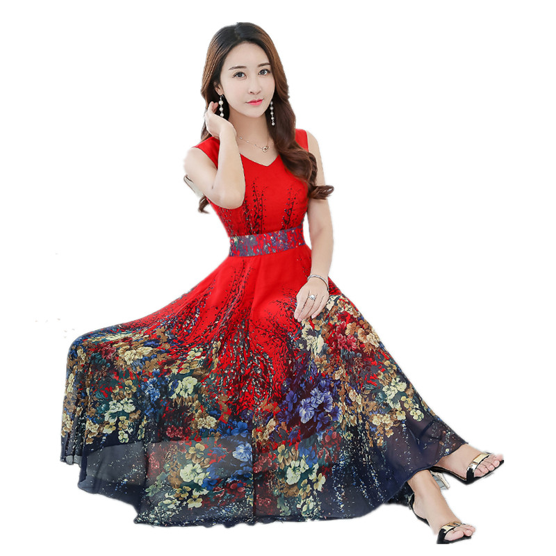 2018 New Summer Chiffon Boho Dresses Vestido Fashion Women Print Sleeveless V neck Plus Size Beach Robe Victorian Bustle Dress
