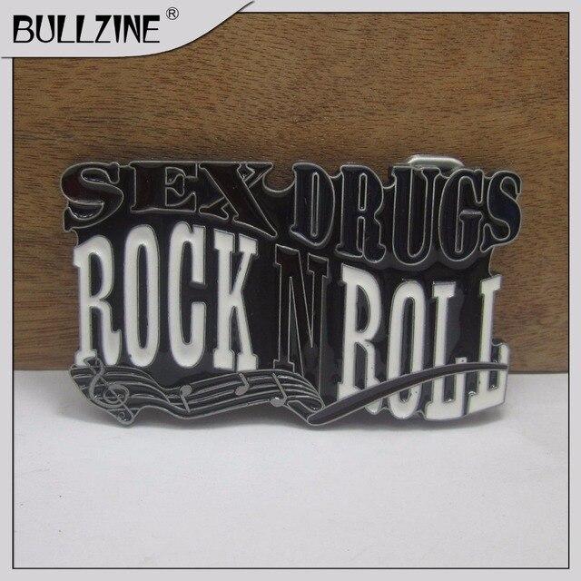 The Bullzine wholesale Rock roll belt buckle with pewter finish FP-03549 suitable for 4cm width belt