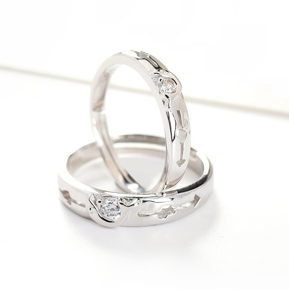 Sterling-silver-jewelry Anniversary Ring Pure Sterling Silver 925 Jewelry AAA Cubic Zirconia Couple Rings For Women / Men GTL043