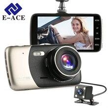 E-ACE Mini 4 дюймов IPS ночного видения Автомобильный видеорегистратор с двумя объективами регистраторы авто видеорегистратор автостоянка камера Full HD 1080 P WDR регистраторы