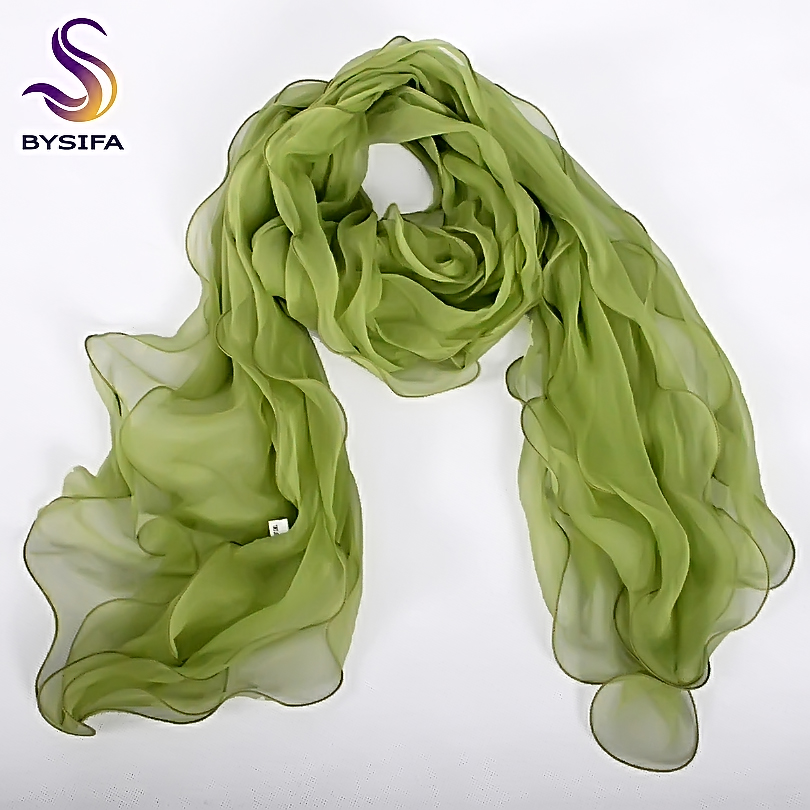 [BYSIFA] Silk Scarf Shawl Fashion Ladies Grass Green Three Layers Long Scarves Cachecol Spring Autumn Elegant Magic Silk Scarves