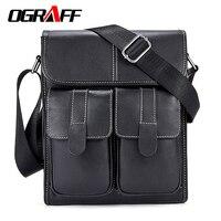 OGRAFF Men Messenger Bag Genuine Leather Bag Men Famous Brands Briefcase Classic Business Men Crossbody Bag