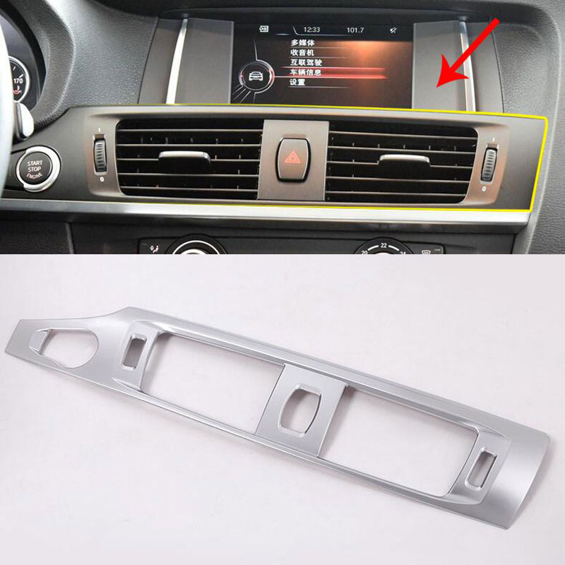 For BMW X3 F25 2012-2017 X4 F26 14-17 Car-styling ABS Matte Chrome Center Console Air Conditioning Outlet Vent Frame Trim цена