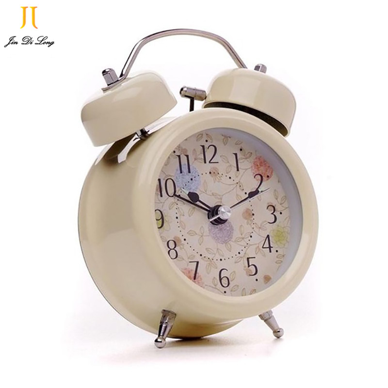 New Hot Mute Double Bell Rural Style Alarm Clocks Quartz Ddesk Clock With Night Light Home Decoration Clock Wholesale