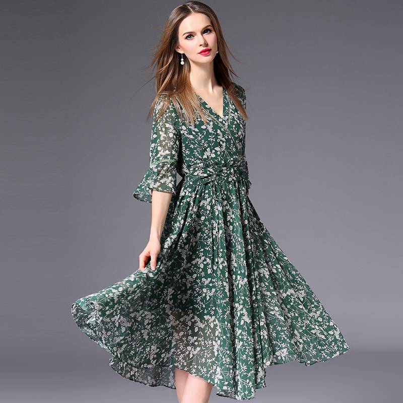 Shetelisi Floral Print Chiffon font b Dress b font with Lace Line Short Sleeve Casual Holiday