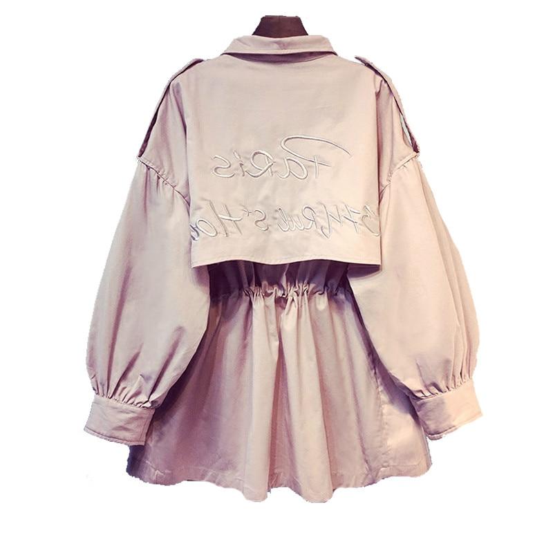 2019 British Style Pink Medium   Trench   Coat Women Overcoat Casual Outerwear Autumn Female Coat Windbreaker Designer Top