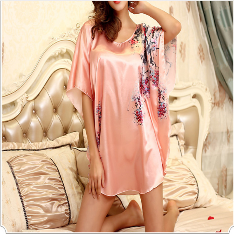 Nightgowns Sleepshirts 2018 Plus Size Silk Lady Sleepwear Dressing Gown Female Home Bran ...