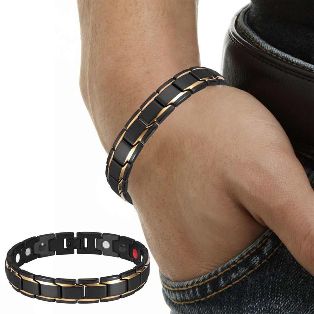 Rainso מותג עיצוב אופנה בריאות אנרגיה צמיד צמיד גברים 316L נירוסטה 4 ב 1 ביו מגנטי צמידי תכשיטי 1540