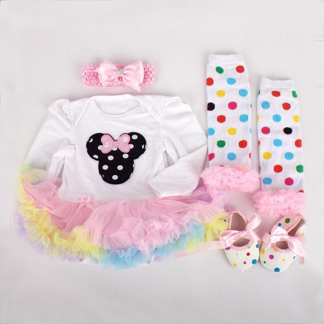 Bebé Ropa Del Mono Del Mameluco de La Colmena 4 unids/set vestido Elástico de La Venda + Body + Leggings + Zapatos Recién Nacido accesorios de Fotografía