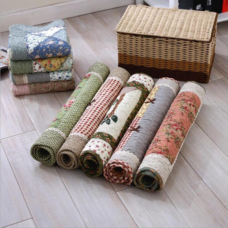 Pa.an Cotton Quilting Floor Mat Handstitched Patchwork Carpet Pastoral Scenic Non-slip Living Room Hallway Door Rug customizable