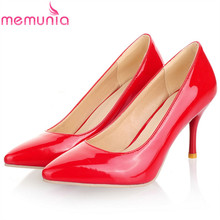 MEMUNIA 2019 wholesale big size 34-47 women pumps slip on solid color summer shoes pointed toe sexy thin high heels shoes woman hee grand floral wedges elegant high heels platform shoes woman slip on sexy pumps pointed toe women shoes size 35 42 xwd4267