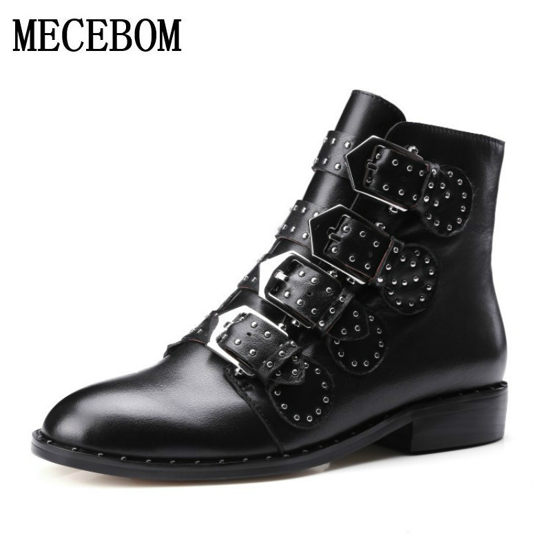 2017 Vintage Genuine Leather Women shoes Boots Flat Booties Soft Cowhide england style Front Zip Ankle Boots zapatos mujer N818W fall flat black waterproof 2017 women shoes retro front lace up casual ankle boots autumn patent leather chunky booties vintage