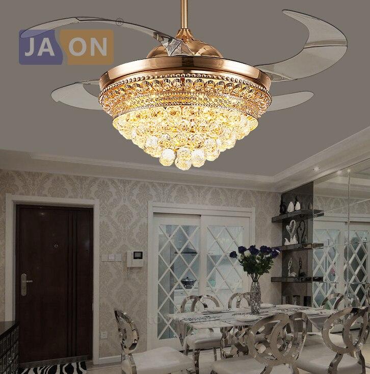 LED Modern Crystal Steel Alloy ABS Gold Ceiling Fan.LED Lamp.LED Light.Ceiling Lights.LED Ceiling Light.For Foyer Bedroom ...