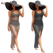 Sexy Long Beach Dress Bikini Cover Up Solid Hollow Beach Wear Dress See Through Tunic Swimsuit Women Sleeveless Summer Suit