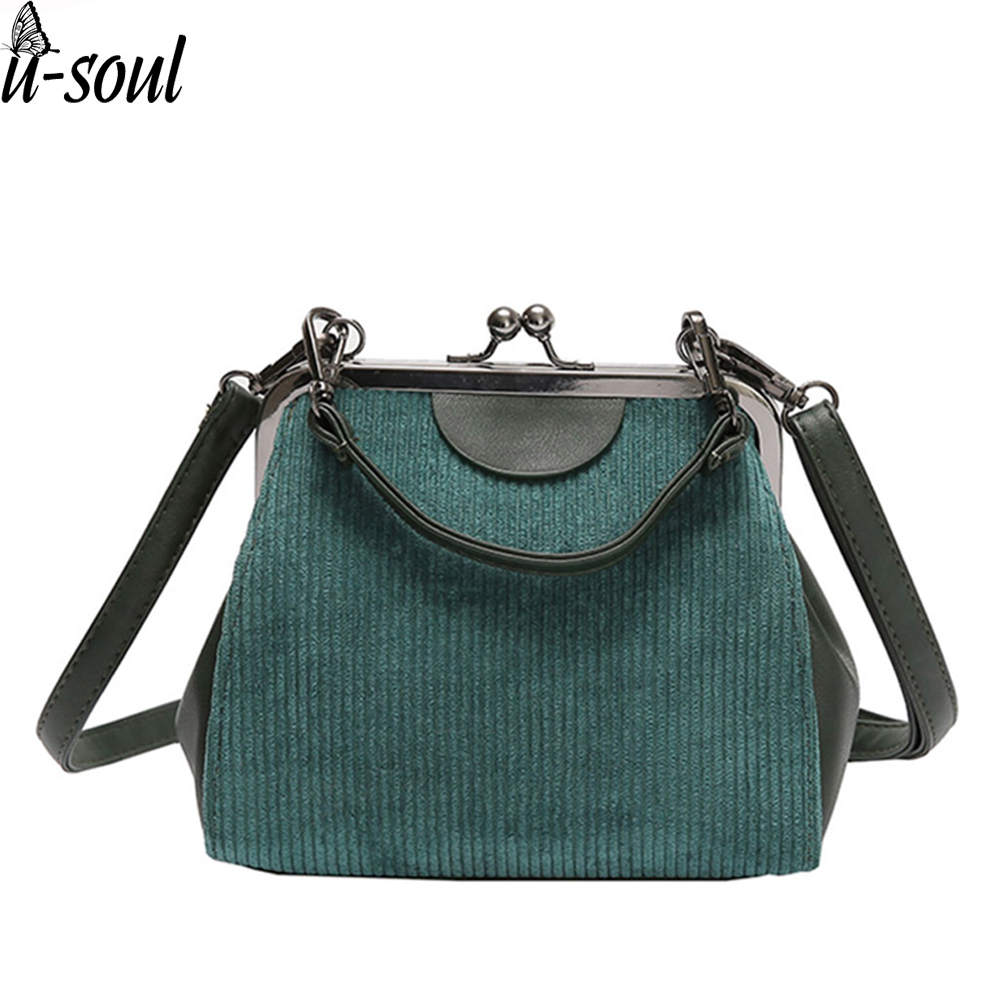 Clutch Handbags Lock-Shell Messenger-Bags Striped Corduroy Women High-Quality Casual
