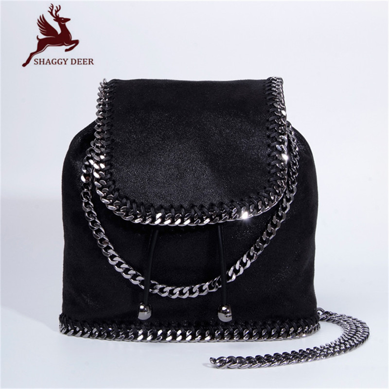 2017 Shaggy Deer Brand PVC Bucket Backpack Lovely Small Cute Stella Chain Backpack mini gray shaggy deer pvc quilted chain bag with cover real picture