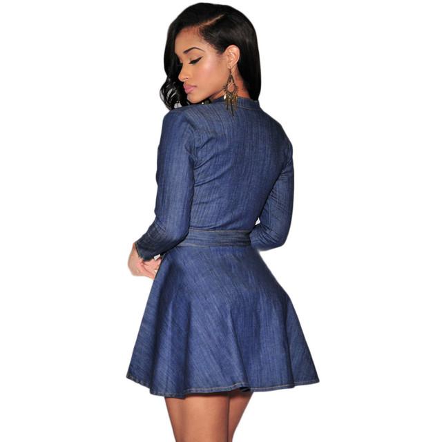 Plus Size S-XL Dress, Sexy Romper Spring Style Women Clothing, Female Loose Casual Denim Dress Elegant Slim mini Dresses#4