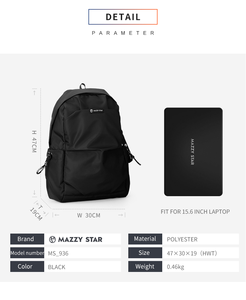 Mazzy Star New School Fashion Men Backpack Bag Water Proof Backpack men External USB Charge Bag MS_936
