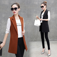 Autumn Sleeveless Blazer Vest Office Lady Long Vest Women Black Red Pocket Outwear Jacket