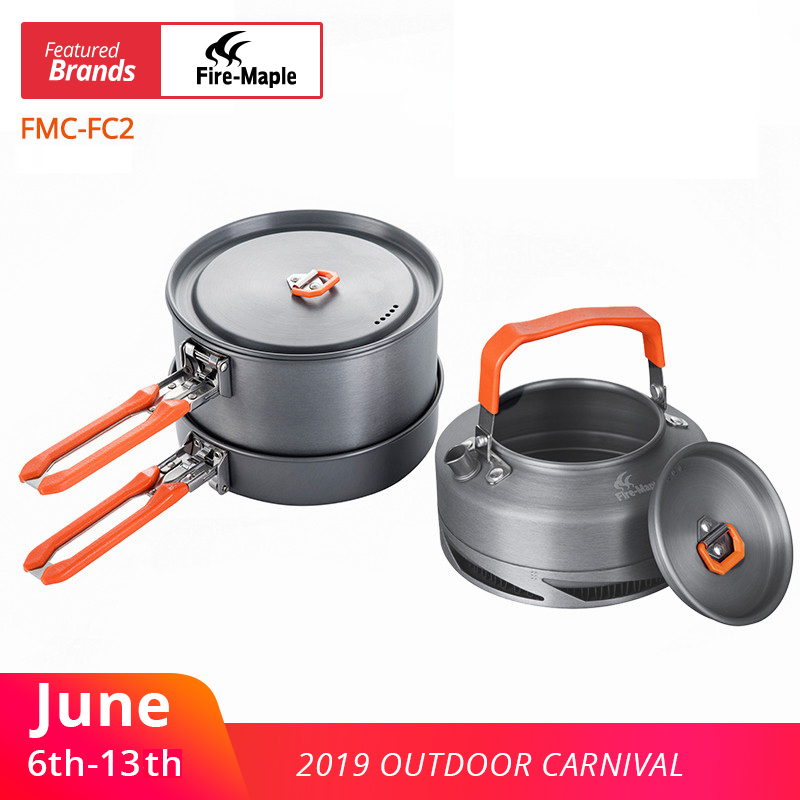 Fire Maple Camping Utensils Dishes Cookware Set Picnic Hiking Heat Exchanger Pot Kettle FMC-FC2 Outdoor Tourism TablewareFire Maple Camping Utensils Dishes Cookware Set Picnic Hiking Heat Exchanger Pot Kettle FMC-FC2 Outdoor Tourism Tableware