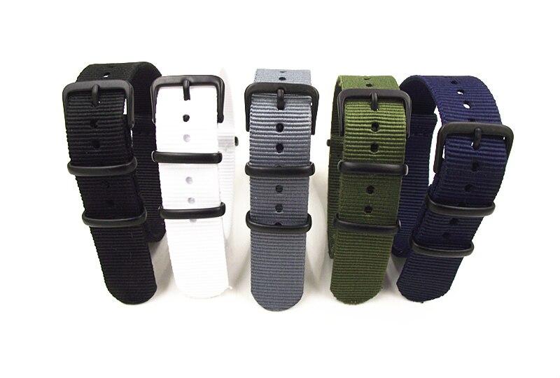 цена на 10PCS/lot 18MM Nylon Watch band NATO straps waterproof watch strap black buckle white black grey gren blue