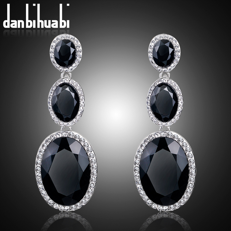 danbihuabi Wholesale New Fashion Trendy Hot Sale Rhinestone Crystal black long dangle earrings for Women Girls Jewelry