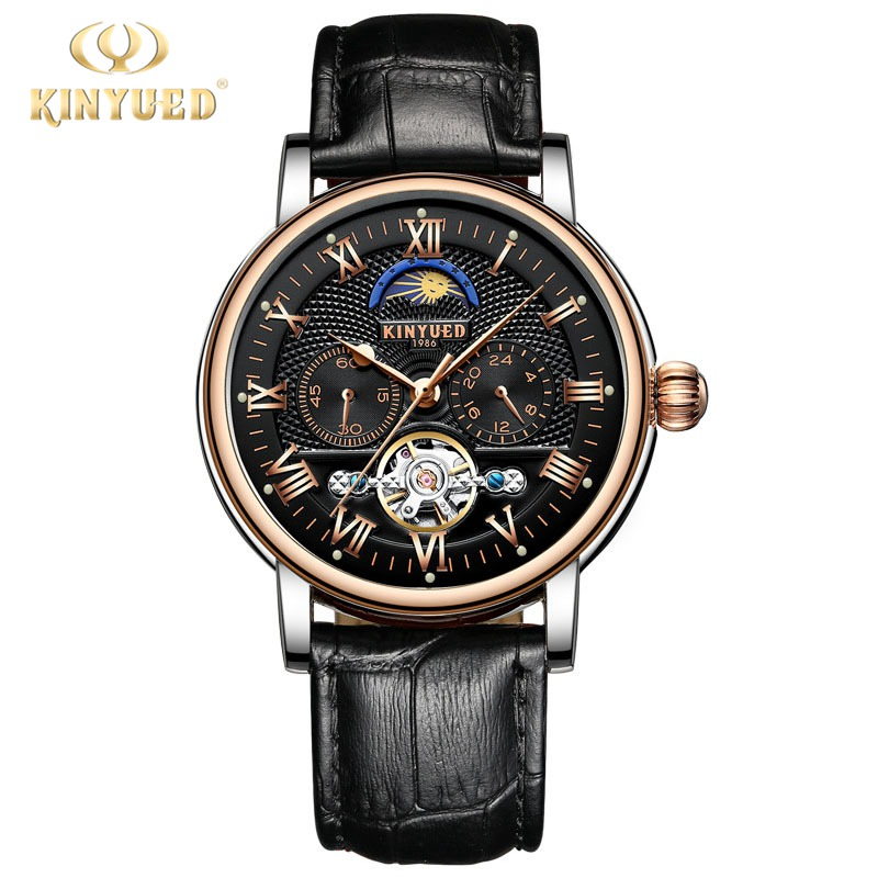 Kinyued Skeleton Tourbillon Mechanical Watch Automatic Men Classic Male Leather Mechanical Wrist Watches Gift For Mens J029P-2 цена