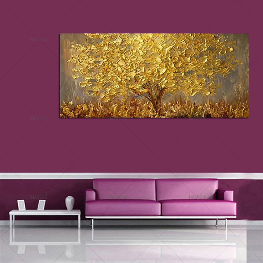 Hand Painted Knife Gold Tree Oil Painting On Canvas Large Palette 3D Paintings For Living Room Hand Painted Knife Gold Tree Oil Painting On Canvas Large Palette 3D Paintings For Living Room Modern Abstract Wall Art Pictures