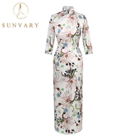 Sunvary High end Vintage Cheongsam Mother Of The Bride Dress Long Sleeve Elegant Mother Of The Bridal Dress High Collar Robe