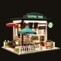 Cute DIY Wooden Dollhouse Miniature Coffee House Shop Model LED Light Furniture Kits Birthday Wedding Gifts