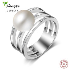 Hongye Fashion Pearl Jewelry Accessories, Natural Freshwater Pearl Ring for Women Gift, 925 Sterling Silver Statement Rings