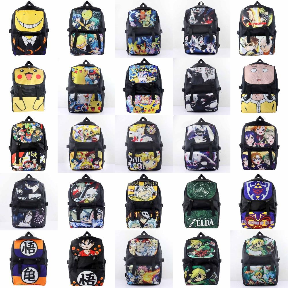 Anime Pocket Monster/One Punch Man/Tokyo Ghoul/Zelda/LoveLive/Black Butler Waterproof Laptop Backpack/Double-Shoulder/School Bag anime tokyo ghoul cosplay anime shoulder bag male and female middle school student travel leisure backpack