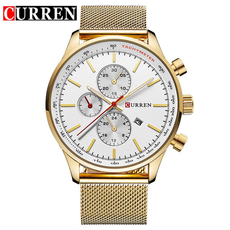 Prix pour CURREN Nouveau Or Quartz Montres Hommes Mode Casual Top Marque De Luxe Montres Horloge Mâle Relogio Masculino Roloj Hombre 8227