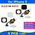 5 jogos/lote alta qualidade new home button chave fita sensor flex cable assembléia completa substituição de peças de reposição para iphone 5 5g