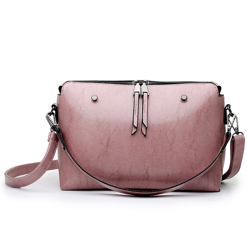 Retro Simple Ladies Crossbody Bag Classy Double Zippers Designer Small Shoulder Bag PU Leather Women Vintage