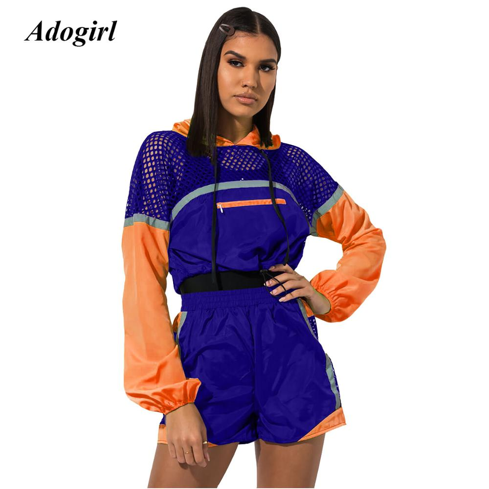 Sexy Fluorescent Color Patchwork Women's Tracksuit Casual Long Sleeve Crop Top With Riding Shorts Two Piece Set Female Price $27.65